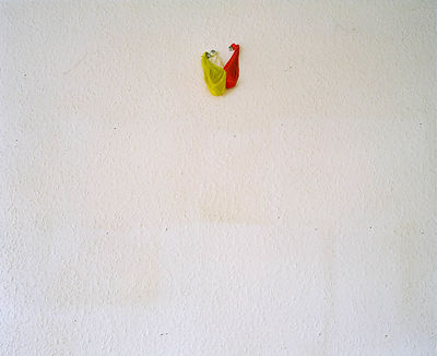 Child'Balloons on wall of recently vacated flat 56 floor of Barry Jackson Tower after compulsory purchase order.