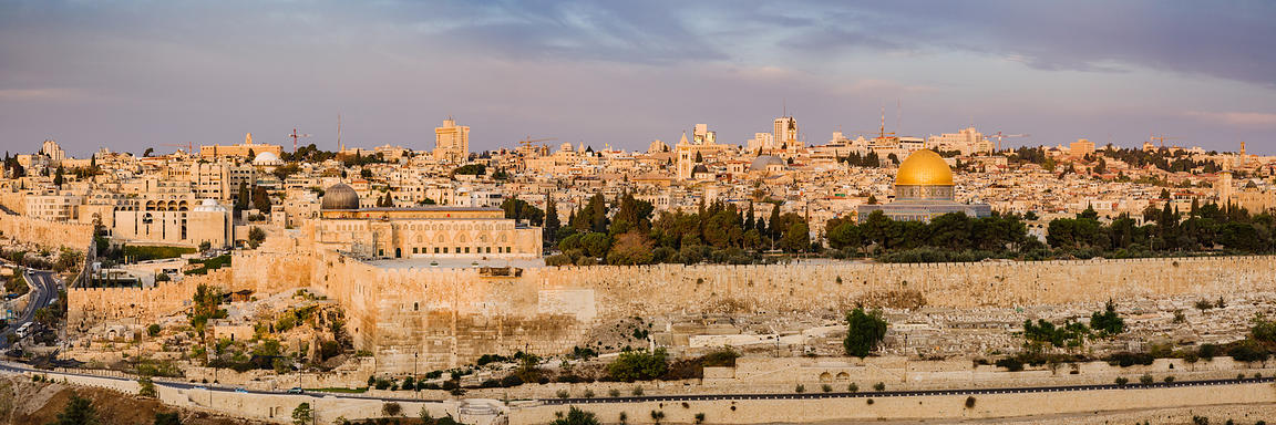 Old City of Jerusalem form the Mount of Olives at Sunrise