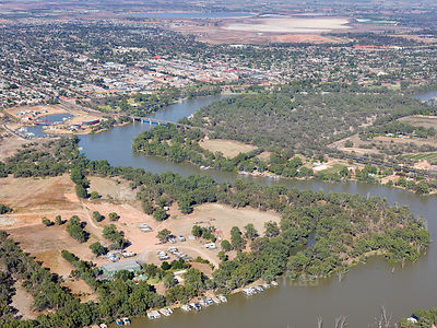 Aerial photo Murray River Mildura