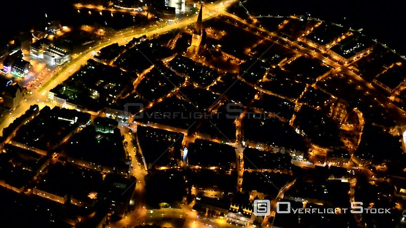 Night video of the old town area and inner city center in Rostock in the state Mecklenburg-Vorpommern, Germany