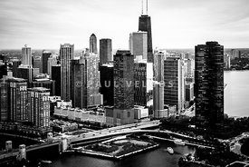 Chicago Aerial Picture of Streeterville in Black and White