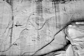 ROCK WALL PATTERNS NATURE ABSTRACT ARCHES NATIONAL PARK UTAH BLACK AND WHITE