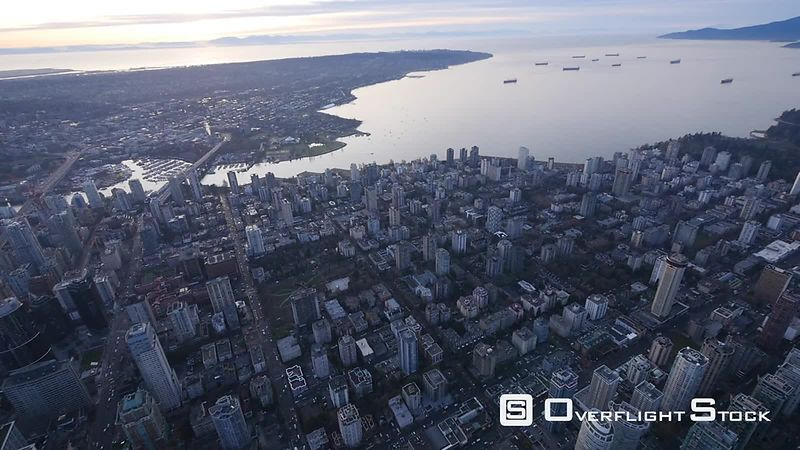 Overflight of Downtown Vancouver in the Evening BC Canada