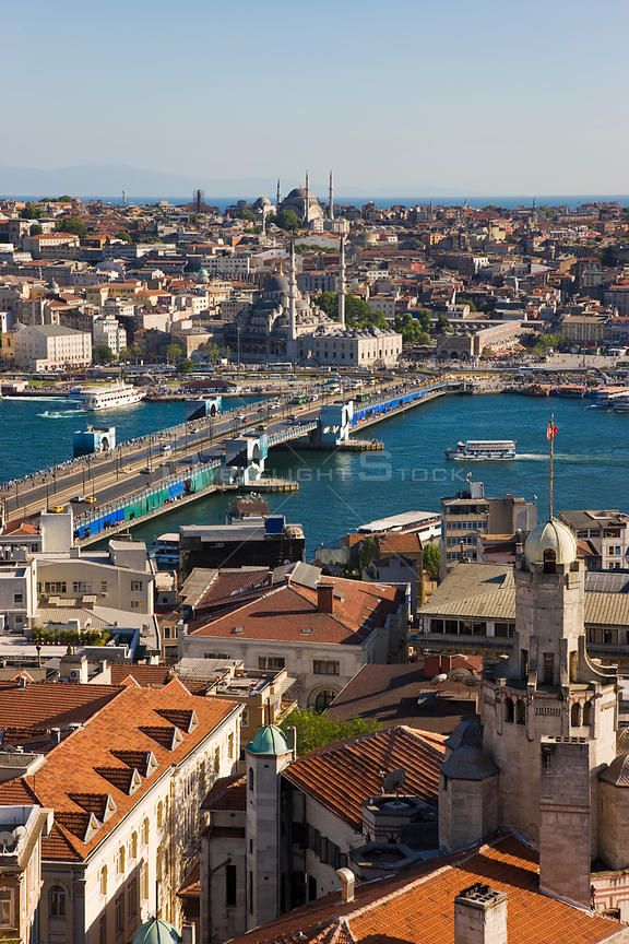 Elevated view over the Bosphorus and Sultanahmet from the Galata Tower in Istanbul, Turkey 2008
