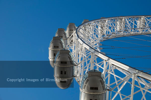 The London Eye, a giant Ferris wheel on the South Bank of the River Thames in London. Also known as the Millennium Wheel.