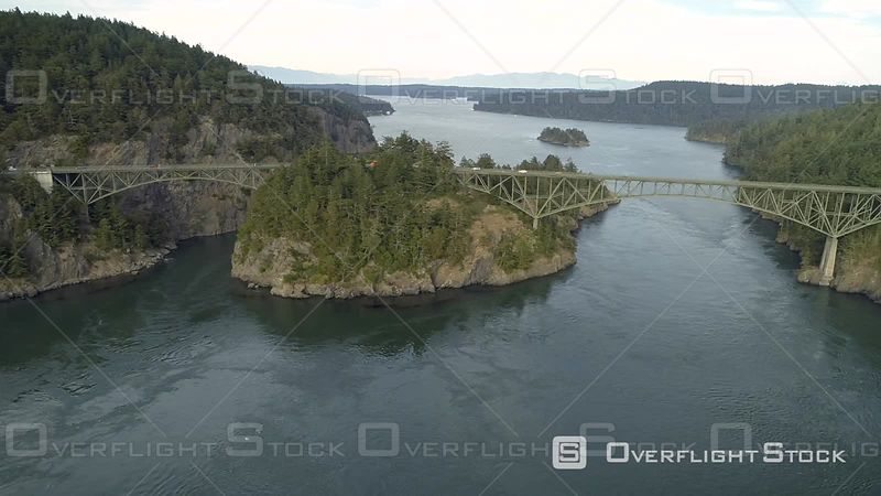 Panoramaic aerial of tourist attraction Deception Pass bridge in Pacific Northwest