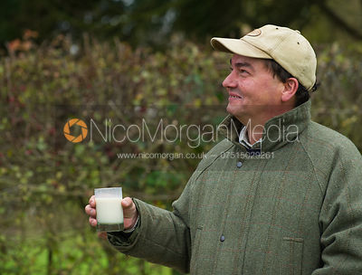 Nick Fensome with a glass of milk - The Quorn Hunt at John O' Gaunt 9/11/12