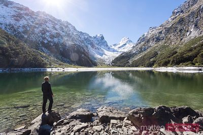 Hiker at Lake Mackenzie, Fiordland National Park, New Zealand