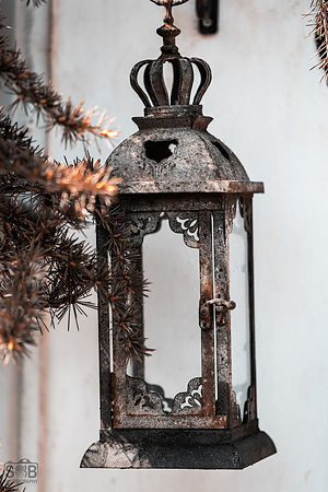 A rusted lamp