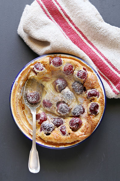 Cherry clafoutis top view