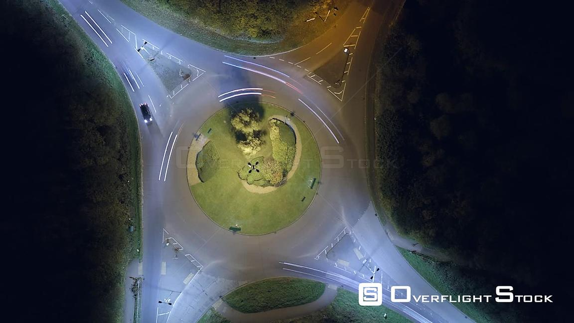 Night Aerial Drone Video of a Traffic Circle UK