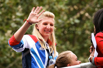 Team GB Champion Swimmer Rebecca Adlington Waves as the London 2012 Athletes Parade Progresses through London