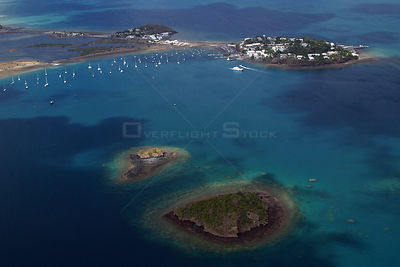 Aerial view of Dzaoudzi, Mayotte, July.