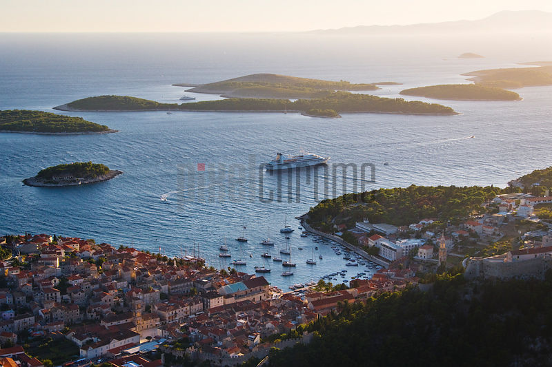 Elevated view of Hvar Town and Harbour at Dusk, Hvar Island, Croatia