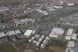 Widnes high level aerial photograph looking across old disused industrial land Dennis and Earle road towards Ashley Way and t...