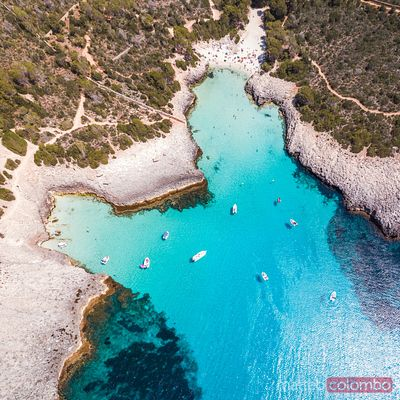 Aerial view of Cala des Talaier, Menorca, Spain