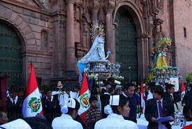 Figures of Virgen of the Immaculate Conception (centre) and Belen outside cathedral , Corpus Christi festival , Plaza de Arma...