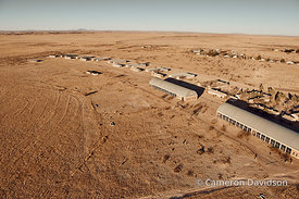 Aerial of the Chinati Foundation site and Donald JUdd sculpture