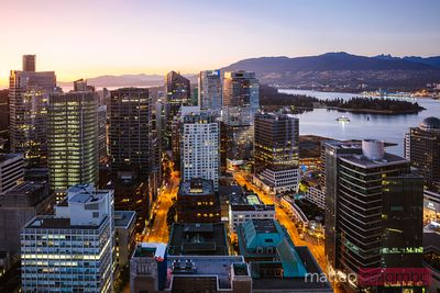 Skyline at sunset, Vancouver, British Columbia, Canada