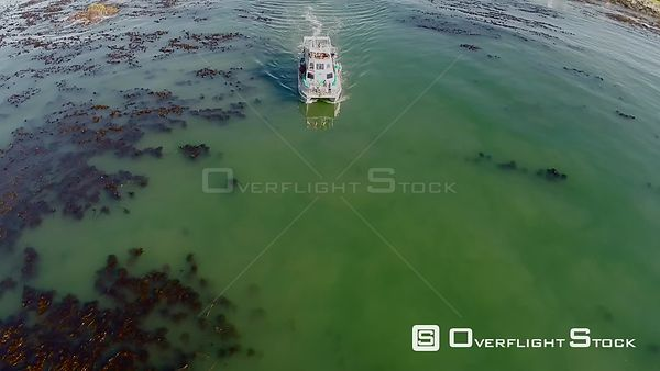 Aerial shot of a charter boat Gansbaai. Western Cape South Africa