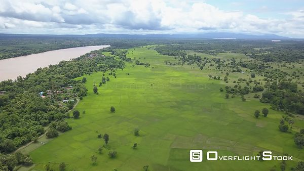 Aerial view of rice paddies at Don Daeng Island along Mekong river, nearby Champassak town, filmed by drone, Laos