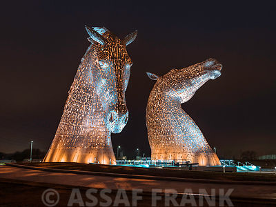 The kelpies horse statue at the Helix park in Falkirk , Scotland