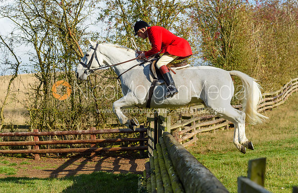 Peter Collins jumping a fence. Quorn Hunt Opening Meet 2018