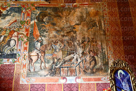 Fresco depicting martrydom of San Lorenzo / St Lawrence on wall of Church of the Immaculate Conception, Checacupe, Cusco Regi...