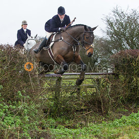Kelly Morgan jumping near the new Jubilee Covert - Cottesmore Hunt at Deane Bank Farm 4/12/12