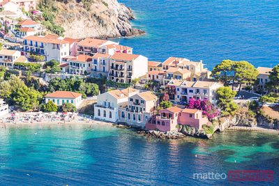 Town of Assos with colorful houses on the mediterranean sea, Greece