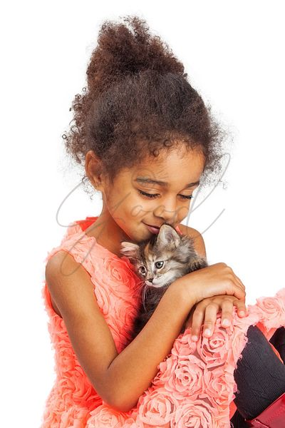 Little Girl Loves Her Kitten
