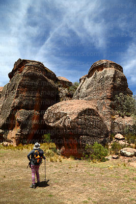 Hiker looking at rock formations in Ciudad de Itas, Torotoro National Park, Bolivia