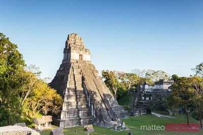 Temple of the Jaguar at sunset, mayan ruins of Tikal, Guatemala