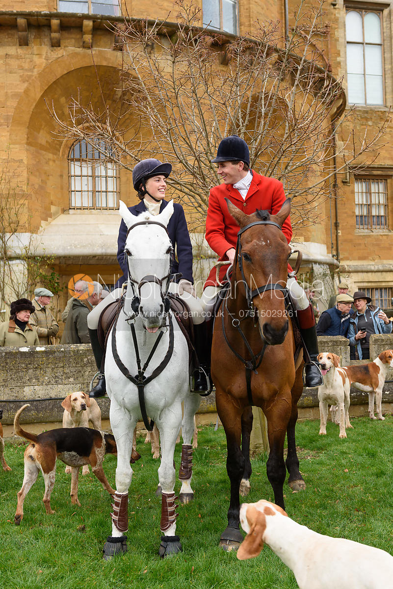 Lady Alice Manners, Otis Ferry at the meet - The South Shropshire and Belvoir Hunts at Belvoir Castle 11/3/17