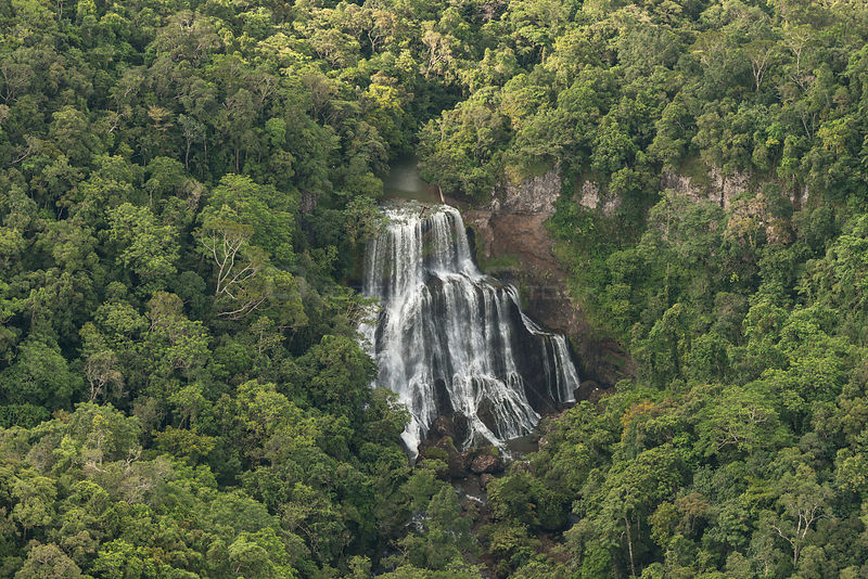 Aerial view of waterfall in mountains, Northern Division, Vanua Levu, Fiji. December 2013.