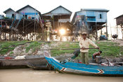 Stilted village on Tonle Sap Lake near Siem Reap, Cambodia