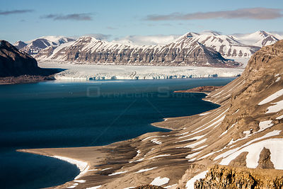 Mountain landscape, Svalbard, Norway, June.