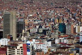 View of city centre and cathedral from Killi Killi viewpoint, La Paz , Bolivia