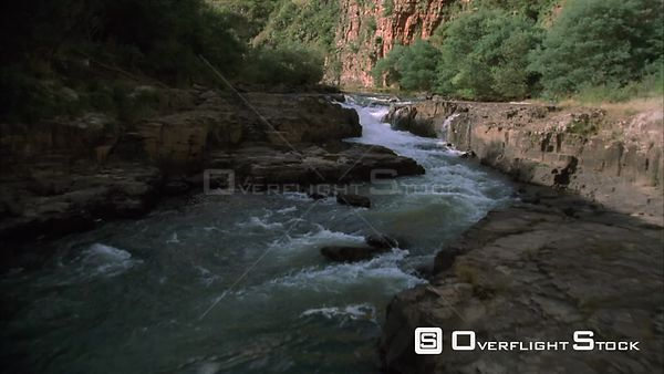 Aerial shot of a group of kayakers paddling on the river. KwaZulu Natal South Africa