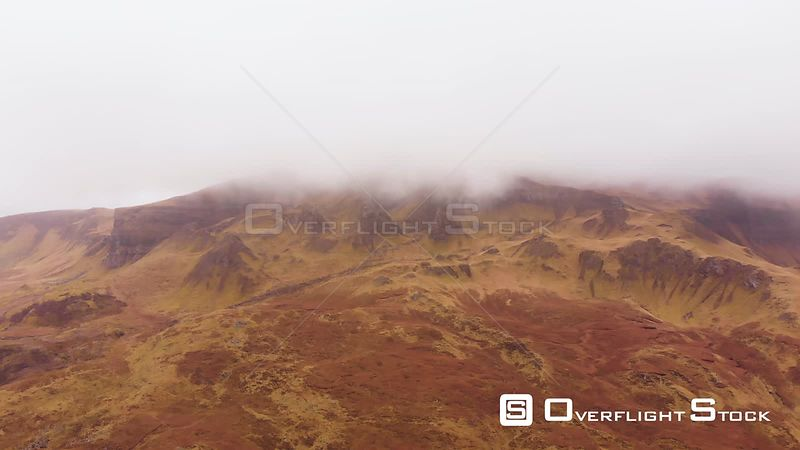Aerial drone shot of the Old Man of Storr on misty day, Isle of Skye, Scotland