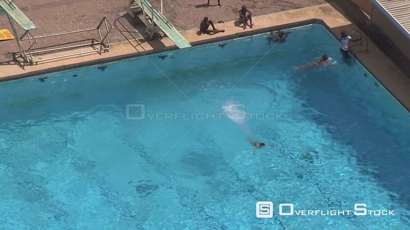 Aerial shot of people swimming a large swimming pool Bloemfontein Free State South Africa