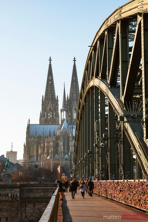 People walking on Hohenzollern Bridge, Cologne, Germany