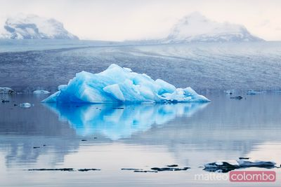 Glacial lake with icebergs at sunrise Iceland