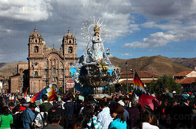 Virgin of the Immaculate Conception during parades for Corpus Christi festival and Compañia de Jesus church , Plaza de Armas ...