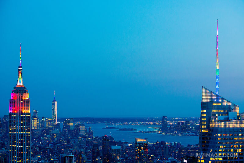 EMPIRE STATE BUILDING FREEDOM TOWER MAHATTAN SKYLINE NEW YORK CITY COLOR