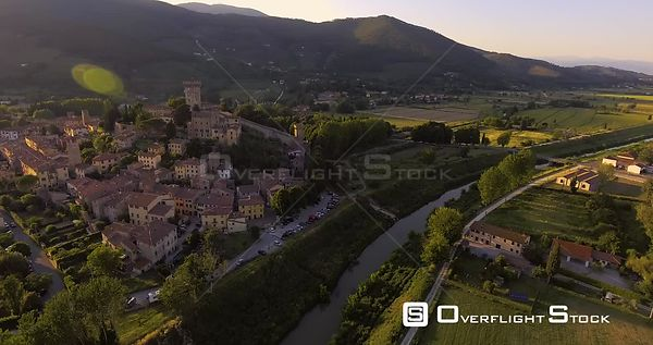 Aerial footage, an ancient town Vicopisano in Tuscany, Italy on sunset 4K
