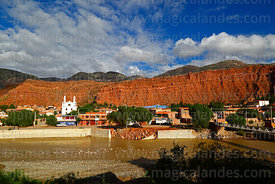 View of Camargo, River Chico and nearby rock formations, Chuquisaca Department, Bolivia