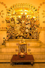 Golden Durga idol in an unidentified temple in Haridwar, India