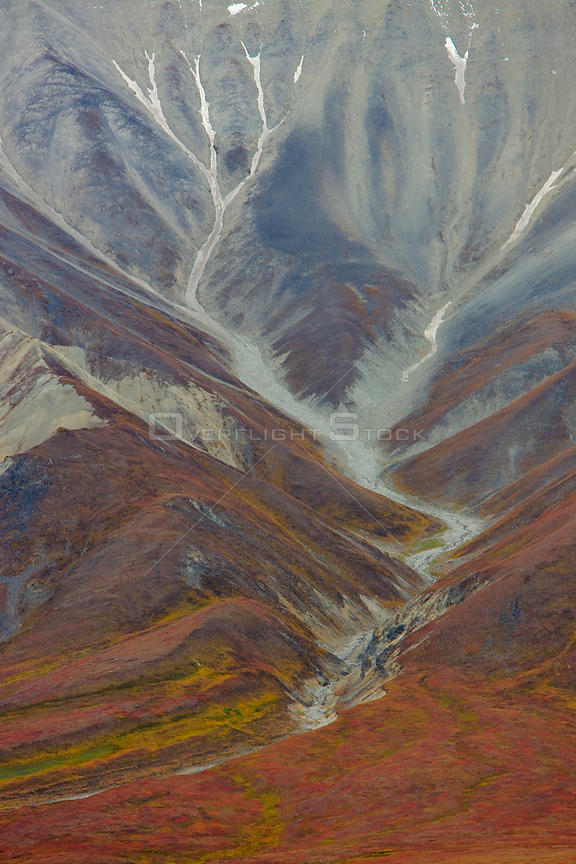 Aerial view of Polychrome Basin in Denali National Park, Alaska, USA, September 2008