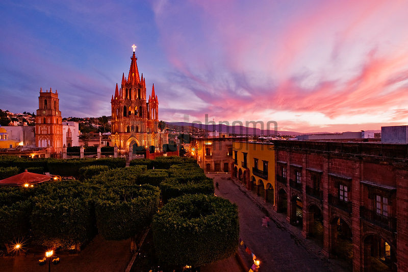 The Jardin and Parroquia at Dusk, San Miguel de Allende, Mexico